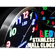 3色LEDステンレスフレーム壁掛け時計
